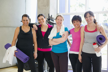 Women standing together after exercise