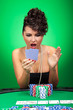 woman looking amazed at cards