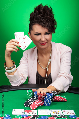 woman winning at poker