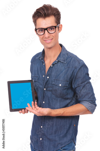 man presents tablet
