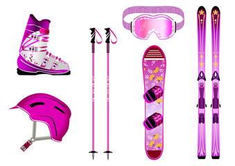 Matériel de ski - couleur Femme - montagne