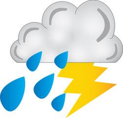 fulmine nuvola pioggia - icone meteo