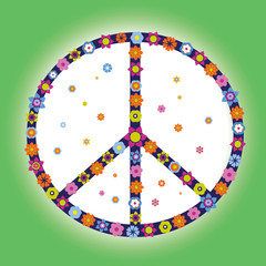 Peace Symbol - Hippie - Flower Power