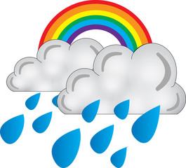 arcobaleno nuvole pioggia - icona meteo