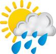 sole nuvola pioggia - icona meteo