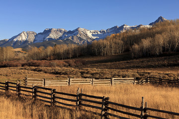 Mountains, fields and fences in remote area