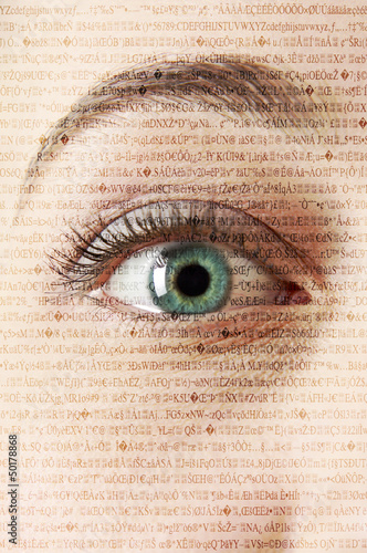 Close up of woman's eye with text in background