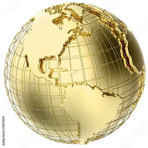 Earth in Gold Metal isolated on white