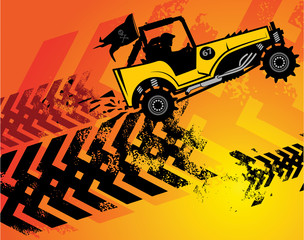 Off-road buggy abstract background, vector illustration