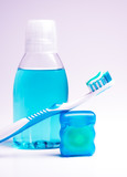 Dental hygiene - mouthwash, toothbrush and tooth floss