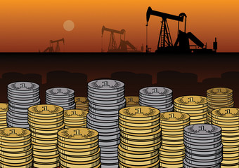Money and Oil Pump's, vector illustration