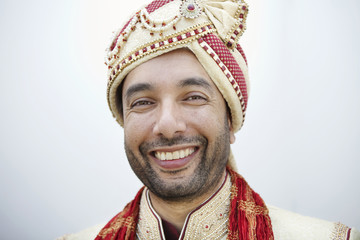 Indian man in traditional wedding clothing