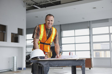 Caucasian man working on construction site