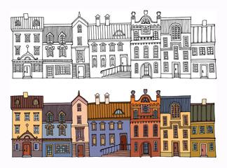 Cartoon hand drawing houses, vector illustration