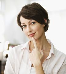 Thinking Caucasian woman