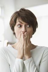 Scared Caucasian woman