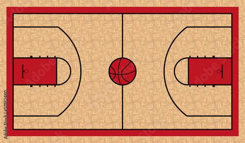 Wall mural basketball court basketball for Basketball court wall mural