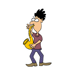 Cartoon jazz musician plays saxophone