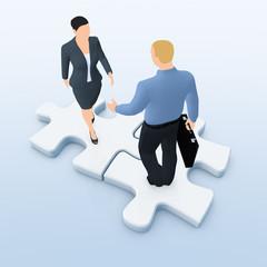 Geschäftsleute auf Puzzle-Teilchen - Hand Check