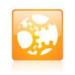 gears orange square glossy web icon