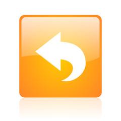 back orange square glossy web icon