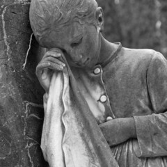 weeping girl- cemetery statue