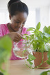 Black girl watering plants