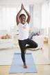 Black girl practicing yoga