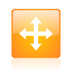 arrows orange square glossy web icon
