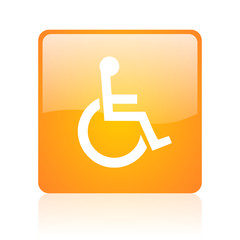 accessibility orange square glossy web icon