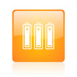 batteries orange square glossy web icon
