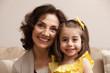 Caucasian grandmother and granddaughter