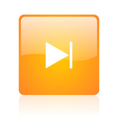 next orange square glossy web icon