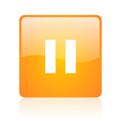 pause orange square glossy web icon