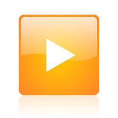 play orange square glossy web icon