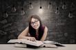 Happy student has bright idea