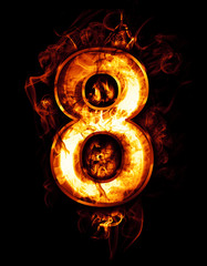 eight, illustration of  number with chrome effects and red fire