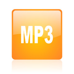 mp3 orange square glossy web icon
