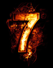 seven, illustration of  number with chrome effects and red fire