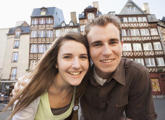 Smiling Caucasian couple