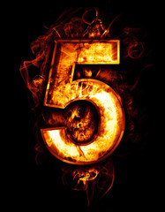 five, illustration of  number with chrome effects and red fire o