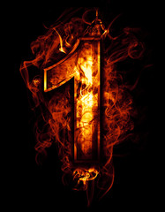 one, illustration of  number with chrome effects and red fire on