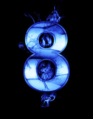 eight, illustration of  number with chrome effects and blue fire