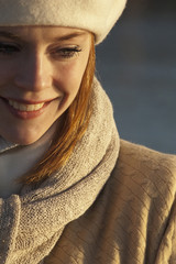 Smiling Caucasian woman in scarf