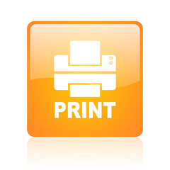 print orange square glossy web icon