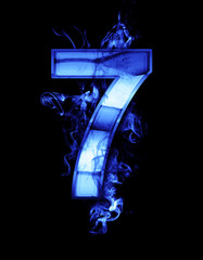 seven, illustration of  number with chrome effects and blue fire