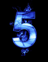 five, illustration of  number with chrome effects and blue fire