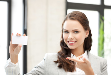 woman with blank business card