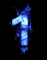 one, illustration of  number with chrome effects and blue fire o