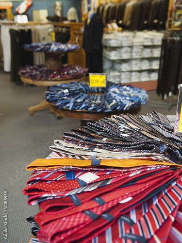 Ties displayed in clothing store